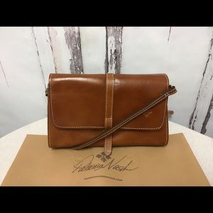 Patricia Nash Brown Leather Flap Crossbody Bag